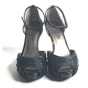 Moda Spana Black Snake Pattern Peep Toe Heels 8M